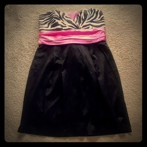 Trixxi Stretch Satin Pleat Dress w/Zebra Bodice